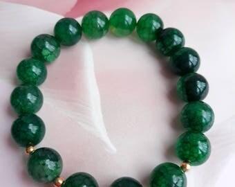 10 mm Green Agate Bracelet