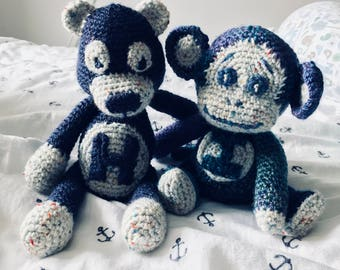 Cute BEAR/MONKEY (crochet/amigurumi) - PERSONALISED