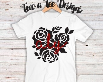 Rose Themed Shirt W. Name. custom rose shirt, rose themed for a girl or woman, Female style shirt.