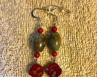 Redcreek jasper earrings with bamboo jasper dangles