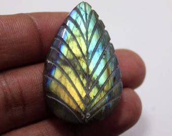 63.15cts Natural Multi Flash Labradorite Carving Pear 39X25X7 mm  Labradorite  Gemstone Amazing & Beautifull Labradorite Nice Flash AA-76
