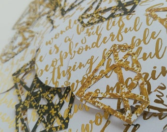 Gold white and black diamond confetti, bridal shower diamond confetti, gold black and white bridal shower decor, gold wedding confetti