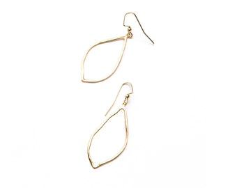 Leaf shaped gold dangle earring