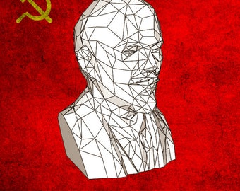 Bust Vladimir LENIN Paper/Low Poly/Papercraft/DIY/Sculpture/Pepakura/Pattern