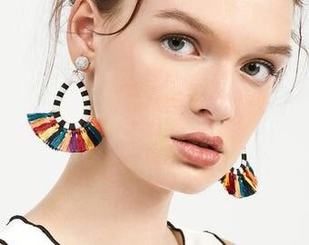 Rosette Tassel Fan Earrings