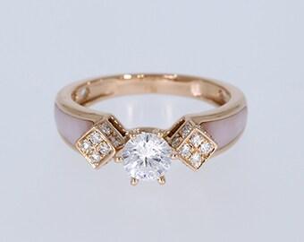 6.00 mm VVS-EF White Moissanite 0.21 ct Natural vs/si-gh Diamond | 10KT/14KT/18KT Rose Gold IGI Certified Ring with Pink Mother of Pearl