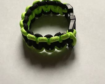 Paracord Bracelet, Neon Green and Black