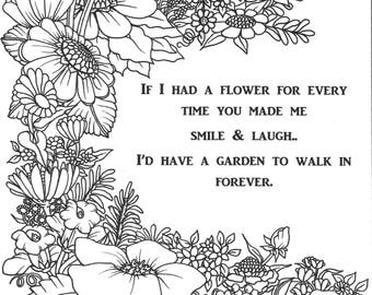 Instant Download - Adult Coloring Page - Forever Garden - printable art quote