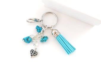 Leather Tassel Turquoise Gemstone Key Chain Blue