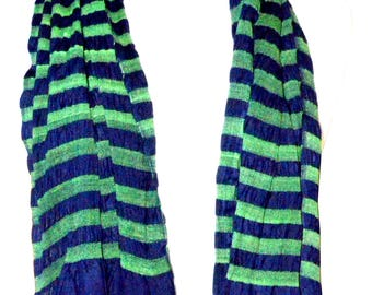 Navy Blue and Green soft rayon Lycra scarf