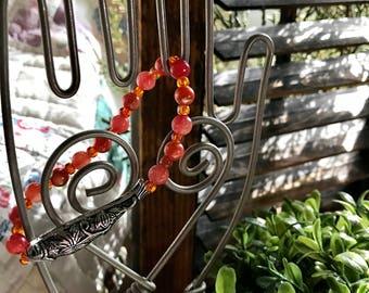 Orange Koi Hand Beaded Bracelet Stackers