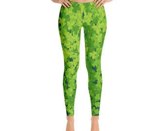 St.Patrick's Day Leggings, Green, Shamrock, Lucky, Printful, USA