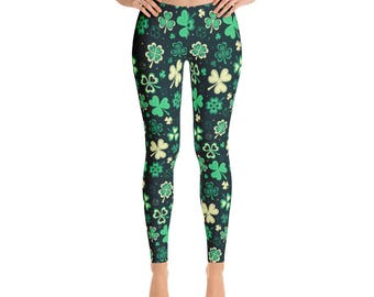 St.Patrick's Day Leggings, Shamrock, USa, Printful
