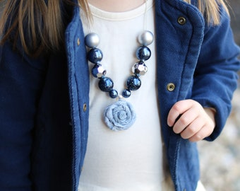 Denim Flower Pendant Necklace