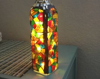 Glass on glass mosaic bottle