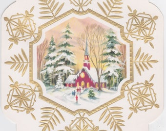 Vintage 1960s Christmas card with an unusual snowflake shape