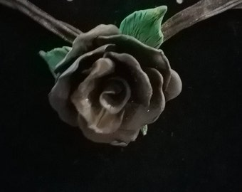 Polymer clay black rose necklace