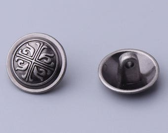 10pcs metal button 15mm round button light black vintage embossed button with feet