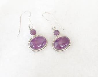 Amethyst Drop Earrings, Sterling Silver Gemstone Drop Earrings, Amethyst Earrings, February Birthstone, Purple Earrings, Bridesmaids Gifts,