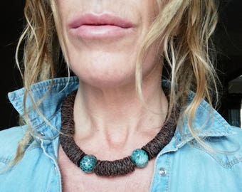 Ethnic leather necklace. Leather necklace. Gypsy