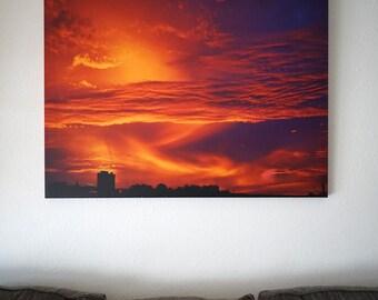Sunset On Pier 39, San Francisco, Large Canvas Print, 36x48 Print,  Ghirardelli Factory, Original Fine Art Photography, Dramatic Sunset