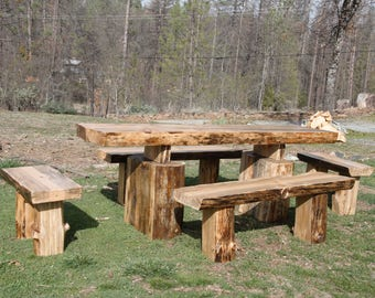 Jumbo Mountain Dining Table and Bench Set - Ultra Rustic