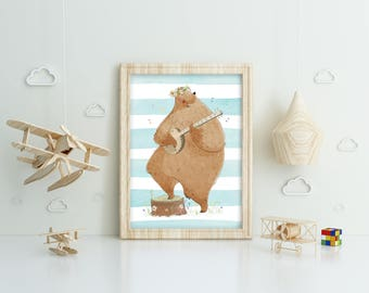 Cute bear with guitar, banjo on watercolor background, printable poster, instant download, wall art design, clip art, for kids