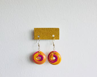 Pink/yellow glazed donut dangle earrings