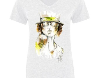 Womens Artistic V-Neck Tee | Victorian V-Neck Tee | Graphic Tee