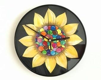 Wall clock-hand painting-handmade-acrylic-colors-sun flower