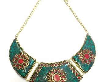 Mexican stones embossed and framed into a very elegant neck piece