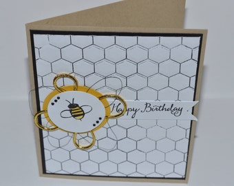 Hand Stamped Honeycomb Bee Birthday Card