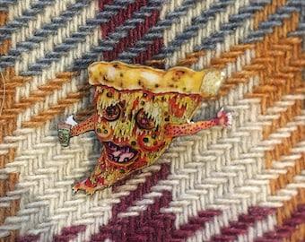 Pizza Enamel Pin, Pizza Face Illustration, Lapel Pin, Butterfly Clutch