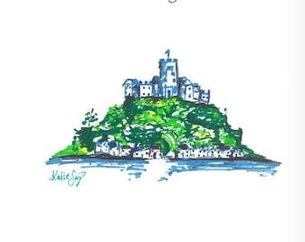 Handmade St Michael's Mount Cornwall Card