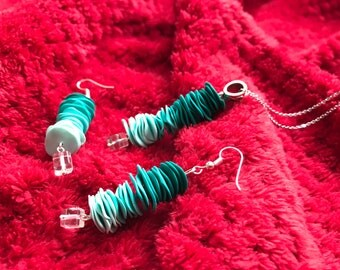 Polymer clay chip bead necklace and earring set.