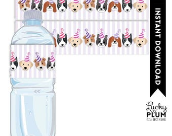 Dog Water Bottle Label / Puppy Water Bottle Label / Puppy Napkin Ring / Doggie Doggy Napkin Ring / Canine Pink Purple Girl / DG03