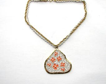 vintage dogwood flower necklace . orange & white enamel flower necklace . large pendant necklace, short double chain . 1960s jewelry 60s