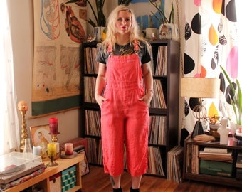 90s vintage coral linen overalls, womens size small . cropped pants overalls by Fresh Produce