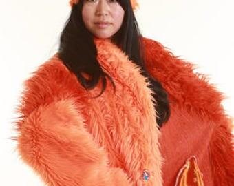 Custom Hunskii UNLINED Faux Fur COAT Burningman-style PimpCoat Festival fakefur  Jacket Playacoat FakeFurCoat for delivery after Burning Man