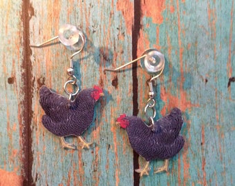 Handcrafted Plastic Plymouth Rock Hen Chicken Earrings Made in USA