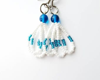Teal & White Earrings