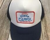 Youth Navy Trucker Hat- Happy Camper Patch-Kids trucker...