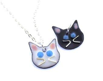 Cat Necklace,  glass enameled cat pendant by Kathryn Riechert