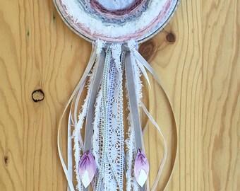 Embroidery weaving art purple butterfly Dream Catcher wall hanging boho nursery baby shower gift in the hoop