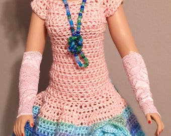Peach and Variegated Blue Latin Inspired Dress for MA Cissy