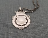 Antique sterling silver watch fob pendant, Award Fob - F15