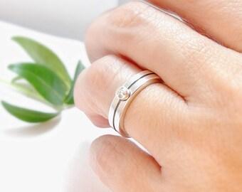 Engagement Ring Bauhaus Modern Wedding Band Silver Wedding Band Silver Engagement Diamond Engagement or Moissanite Engagement, Womens Ring
