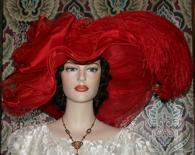 Featured listing image: Kentucky Derby Hat Ascot Edwardian Tea Party Downton Abbey Hat Women's Red Hat One of a Kind - Rouge Sunset