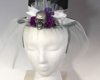 Day of the Dead Headband Top Hat- Purple/Pink Flowers, Feathers, Skulls