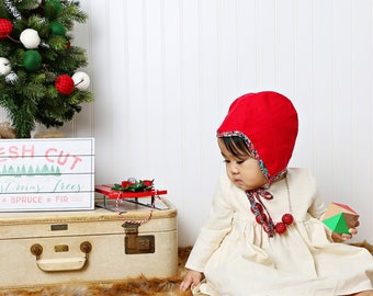 Linen Bonnet, Baby Bonnet, Christmas Bonnet, Red Bonnet, Childs Bonnet, Cute Bonnet, Little Bonnet, Bonnet Photo Prop, Handmade Bonnet